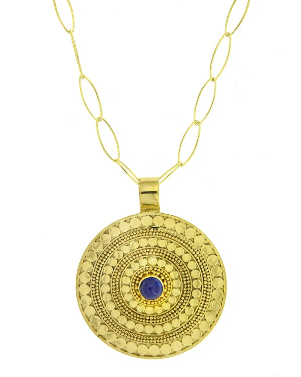 f66a45ab61b376 Bali gold plated extralarge necklace with precious stone